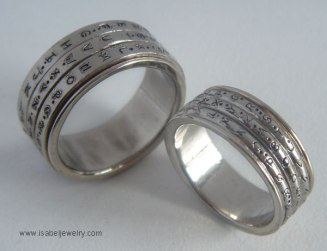 """Crytpo Rings"" 14K White Gold."