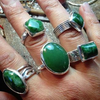 Sterling silver, Wyoming jade rings.