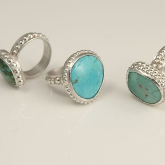 """""""Elegant Dots"""", Arizona and Colorado turquoise, variscite, sterling silver."""