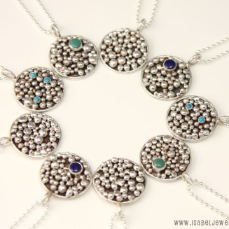 """""""Galaxy Collection"""", sterling silver, lapis lazuli, tuquoise."""