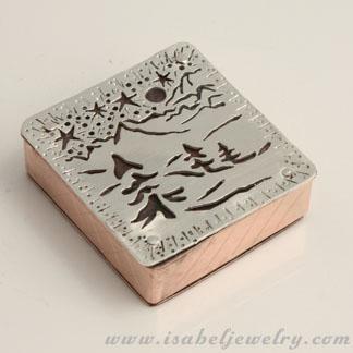 """Gus's Wintertime"", sterling silver, copper box."