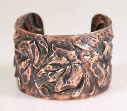"""""""My Parents' Ivy"""", copper repousse' bracelet."""