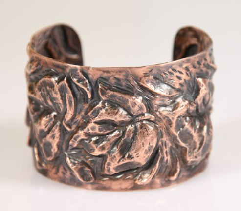 """My Parents' Ivy"", copper repousse' bracelet."