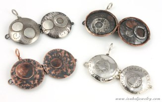 Sterling silver, copper and bronze lockets.
