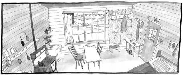 """Unfurling"", panel 106 of 177, Wyoming one-room cabin."