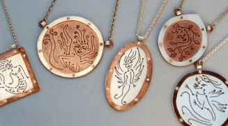 Pierced pendants, sterling silver, copper.