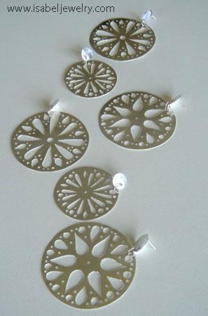 """""""Rose Window Earrings"""" sterling silver."""
