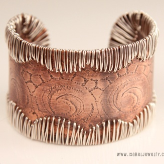 """""""Western Lace"""" Sterling silver and copper cuff bracelet."""
