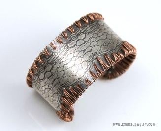 """""""Western Lace"""", cuff bracelet, sterling silver, copper."""