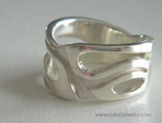 """Wide Leaf Ring"" sterling silver."