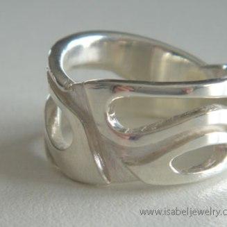 """Wide Leaf Ring"" sterling silver."