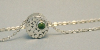 Sterling silver, peridot necklace.
