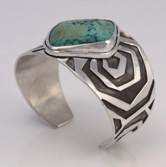 """Zebra Cuff"", sterling silver, turquoise bracelet."